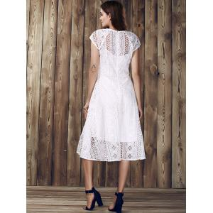 Elegant Round Collar Hollow Out Short Sleeve Lace Dress For Women -