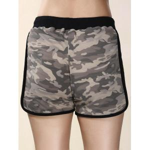 High Waisted Mesh Trim Camouflage Shorts - COLORMIX L
