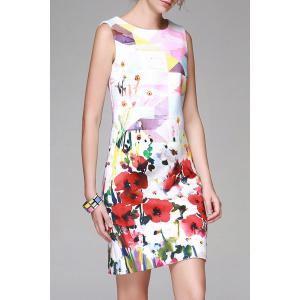 Flower Print Bodycon Sleeveless Dress -