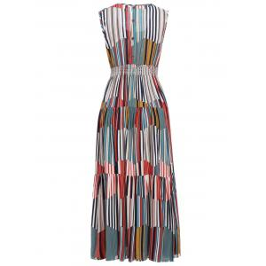 Bohemian Style Women's Colorful Striped Sleeveless Dress -