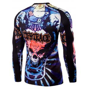 Round Neck Skull and Words Print Long Sleeves T-Shirt For Men -