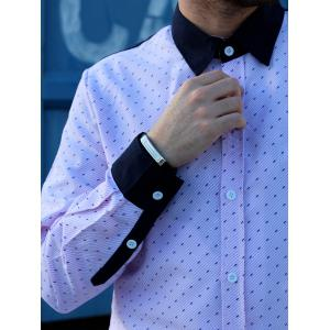 Fashion Shirt Collar Hit Color Twill Splicing Slimming Long Sleeve Cotton Blend Shirt For Men -