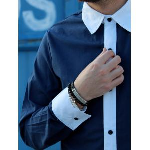 Vogue Shirt Collar Simple Color Block Splicing Slimming Full Sleeve Cotton Blend Shirt For Men -