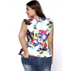 Stylish Plus Size Cut Out Printed Asymmetric Top For Women -
