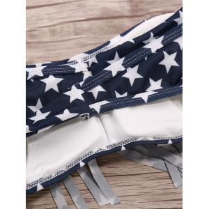 Strapless Bra Fringed American Flag Bikini Set - PURPLISH BLUE S