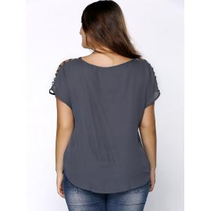 Plus Size V Neck Ripped Sleeve Tee - GRAY 2XL