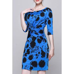 Plant Print Ruched Work Dress -