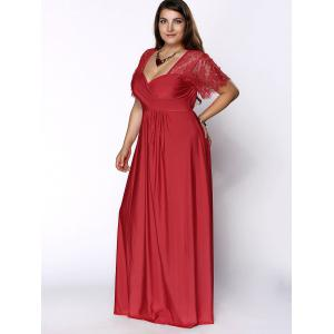 Plus Size Lace Sleeves Maxi Evening Cocktail Dress - RED XL