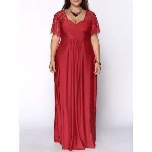 Plus Size Lace Short Sleeve Maxi Evening Party Dress - Red - Xl