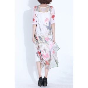 Half Sleeve Painting Print Dress -