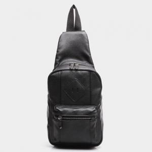 Leisure Zips and PU Leather Design Messenger Bag For Men -