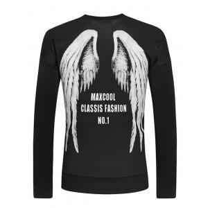 Round Neck Letters and Wings Print Long Sleeve Sweatshirt For Men - BLACK 2XL