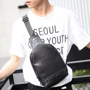 Stylish Metal and PU Leather Design Messenger Bag For Men -