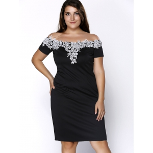Plus Size Midi Off Shoulder Crochet Insert Party Dress -
