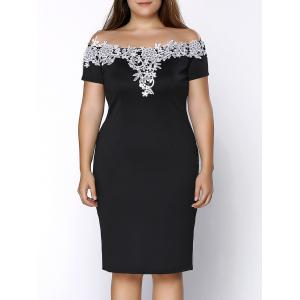 Plus Size Off Shoulder Crochet Insert Party Dress