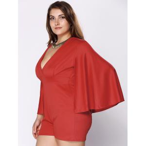 Stylish Plus Size Plunging Neck Cape Romper For Women -