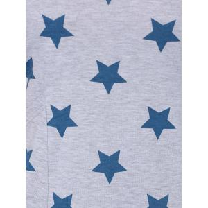 Plus Size Pocket Asymmetrical T-Shirt Dress with Stars Print - LIGHT GRAY L
