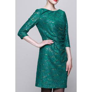 Sequined Bodycon 3/4 Sleeve Dress -