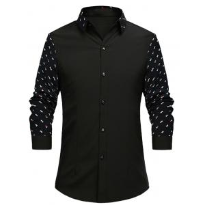 Turn-Down Collar Geometric Print Splicing Long Sleeve Shirt For Men