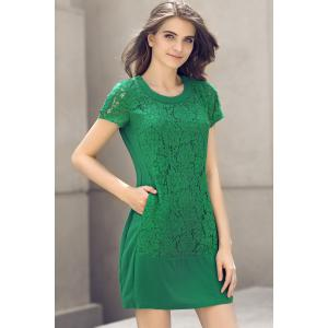 Green Fitted Lace Panel Dress -