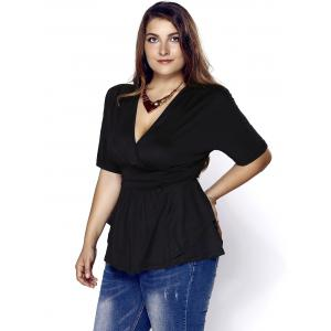 Fashionable Plunging Neck Short Sleeve Plus Size Solid Color Women's Blouse -