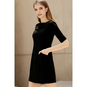 Half Sleeve Bodycon Dress in Black -