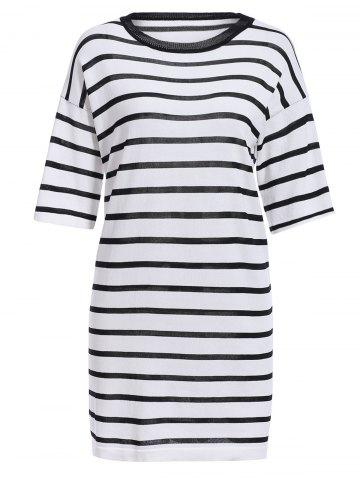 Shops Brief Style Round Neck Half Sleeves Striped Dress For Women
