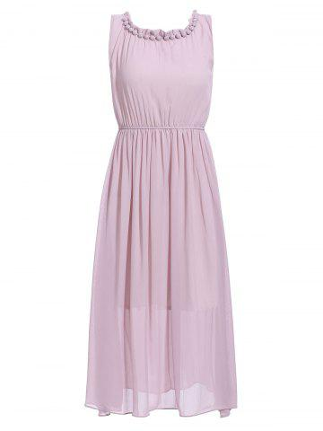 Trendy Sleeveless Beaded Chiffon Midi Dress