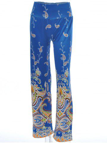 Paisley Pattern Wide Leg Exumas Pants - DEEP BLUE L
