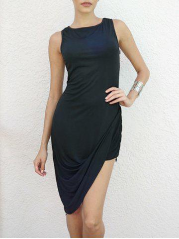 Fashion Asymmetrical Draped Club Bodycon Dress BLACK L