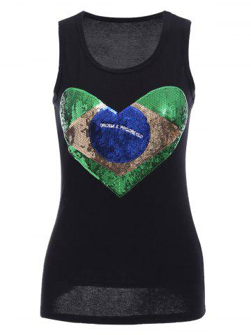 Cheap Sequins Graphic Racerback Tank Top BLACK S
