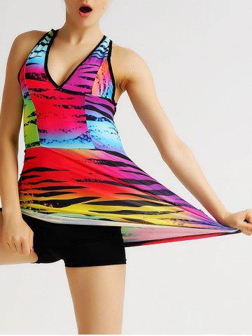 Colorful Plongeant Tank Top Gym Neck Backless Criss Cross pour les femmes Multicolore M
