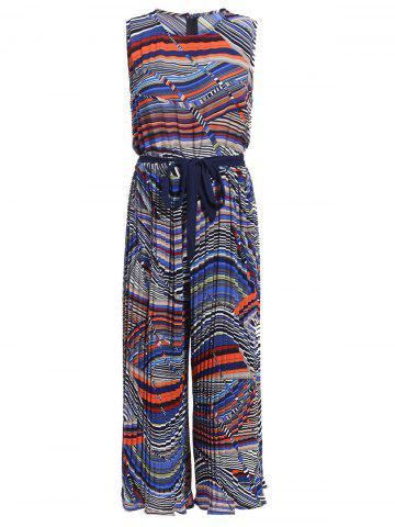 Chic Chic Women's Sleeveless Ethnic Print Jewel Neck Wide Leg Jumpsuit