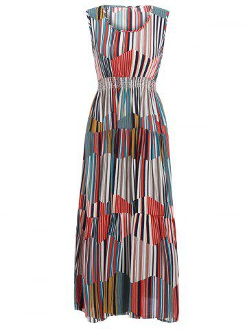 Fashion Bohemian Style Women's Colorful Striped Sleeveless Dress