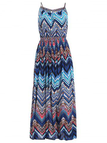 Affordable Bohemian Style Women's Spaghetti Strap Zig Zag Print Dress