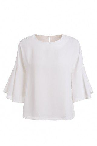 Online Fashionable Women's Scoop Neck 3/4 Sleeve Pure Color Loose-Fitting Blouse
