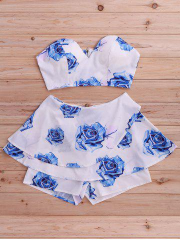 Best Stylish Floral Print Tube Top and Skirted Shorts Set For Women