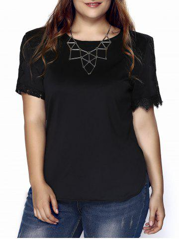 Outfit Stylish Plus Size Jewel Neck Short Sleeve Crochet Top For Women
