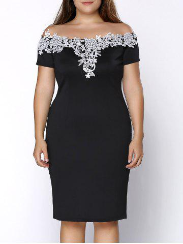 Shop Plus Size Midi Off Shoulder Crochet Insert Party Dress