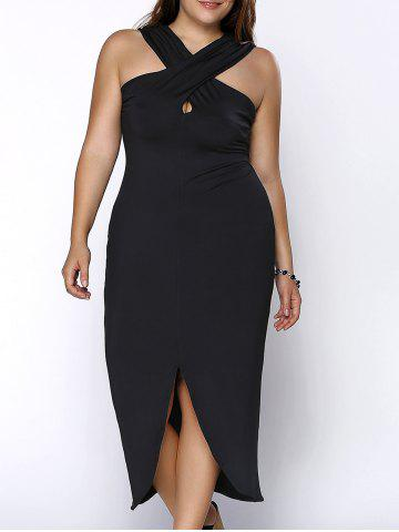 Unique Plus Size Keyhole Neckline Slit Cross Bandage Dress