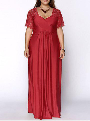 Affordable Plus Size Lace Short Sleeve Maxi Evening Party Dress RED XL