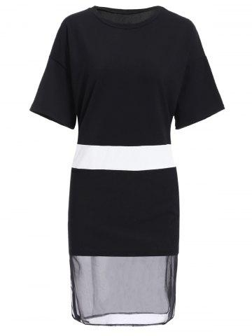 Store Simple Style Jewel Collar Short Sleeve Hit Color Spliced Dress For Women