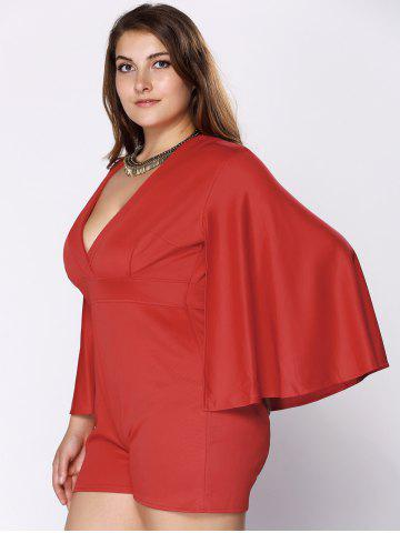 Cheap Stylish Plus Size Plunging Neck Cape Romper For Women - 3XL RED Mobile