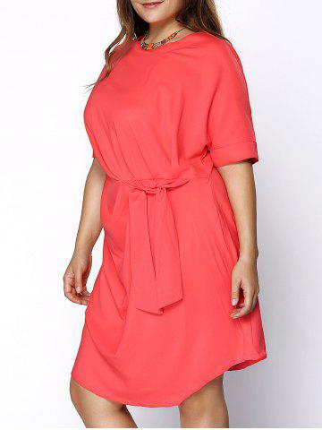 Latest Chic Round Collar Plus Size Knotted Solid Color Women's Dress