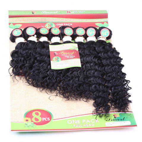 8Pcs/Lot Fluffy Curly Black Capless 90 Percent Human Hair Blended Synthetic Women's Hair Extension