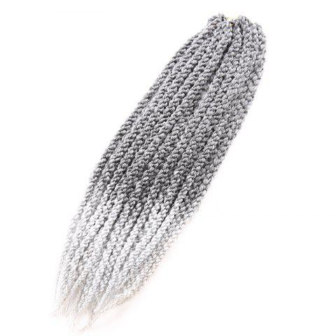 Vogue Twisted Rope Braid Silver Ombre White Long Synthetic Hair Extension For Women - Colormix