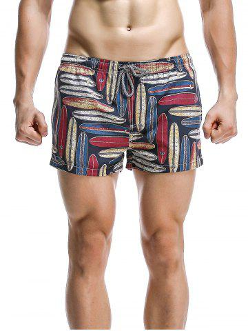 Discount Fashion Printed Boardshorts For Men DEEP BLUE L