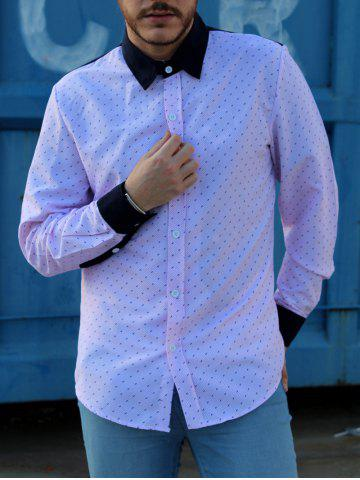 Outfits Fashion Shirt Collar Hit Color Twill Splicing Slimming Long Sleeve Cotton Blend Shirt For Men