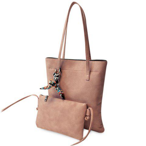 Outfit Leisure Solid Color and PU Leather Design Shoulder Bag For Women LATERITE