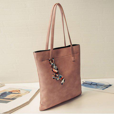 Fashion Leisure Solid Color and PU Leather Design Shoulder Bag For Women - LATERITE  Mobile